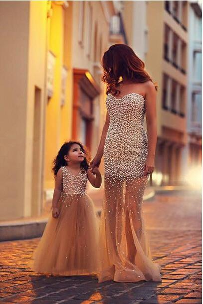 Charming Tulle Evening Dresses, Long Evening Dresses, Bead Evening Dresses, Strapless Evening Gowns, Formal Dress,Evening Dresses Custom