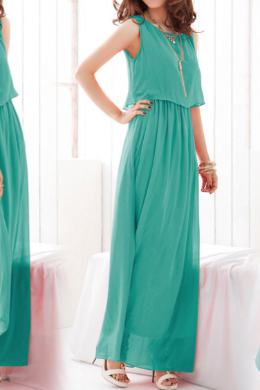 The seaside beach dress dress Pure color sleeveless dresses chiffon dress summer