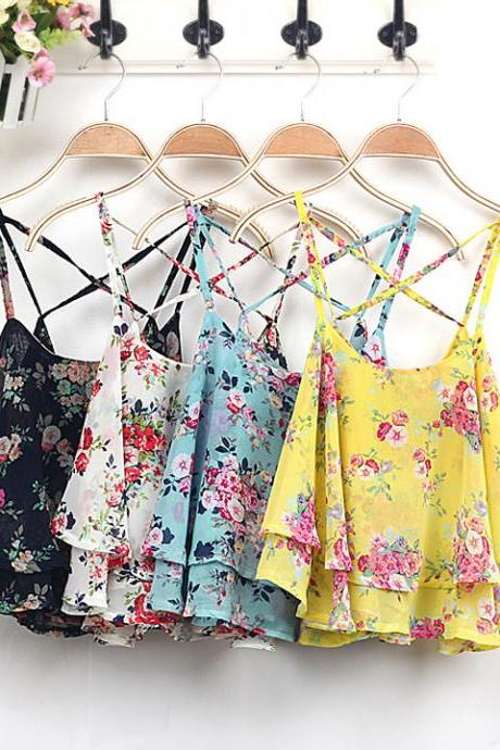New Retro Sexy Lace Flower Tank Top Sexy Cami Sleeveless Casual Cotton T-Shirt