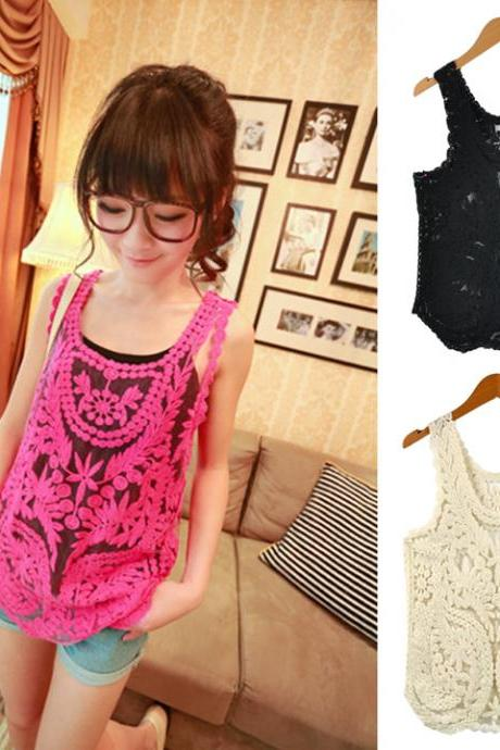 Women's Lace Floral Pattern Sleeveless Crochet Tank Tops
