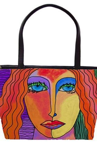 Large Handbag Tote Bag Printed with My Funky Abstract Digital Painting