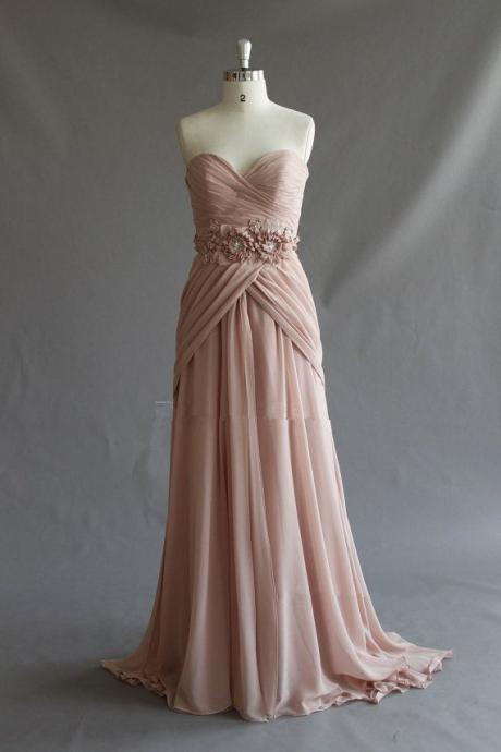 Pretty Handmade Pearl Pink Sweetheart Long Prom Gown with Train, Long Prom Dresses 2015, Evening Dresses
