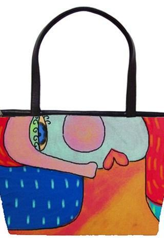 My Funky Abstract Portrait of a Woman Printed on a Large Handbag Tote Bag