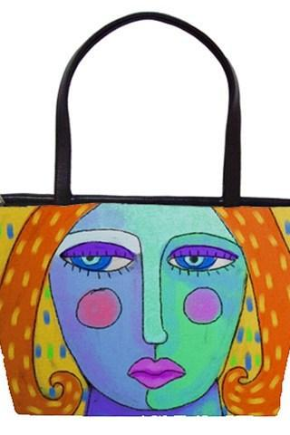 Large Handbag Tote Bag Printed with My Funky Abstract Portrait of a Woman