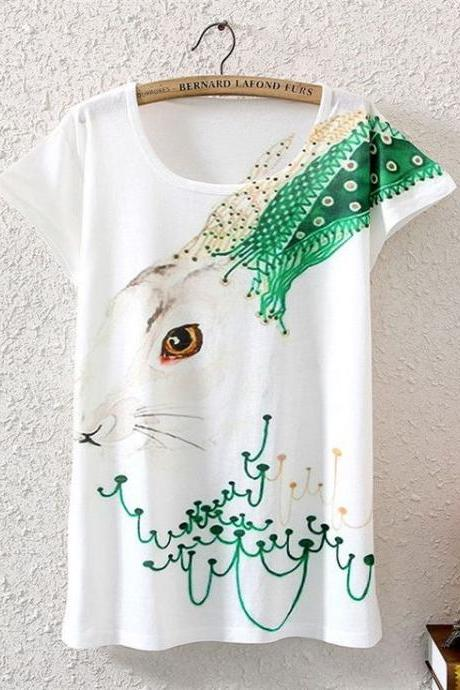 Cute rabbit fashion beach teen girl shirt