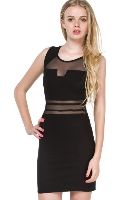 Cut Out Front Bodycon Dress With Mesh Waist Detail