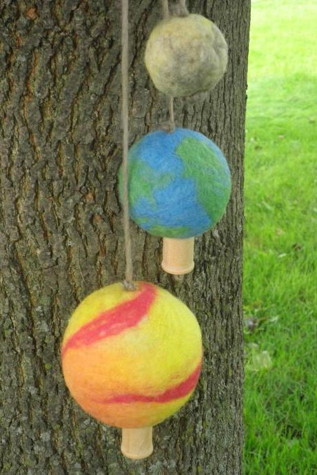 Earth Moon Sun needle felted wool ball set. Unique for home. Decor Mobile for, child's room, baby mobile. Eco friendly.