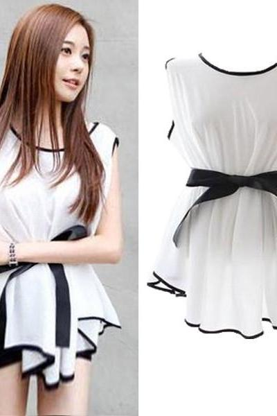 Fashion Women Blouse Tops Irregular Sleeveless Chiffon Shirt Peplum With Belt