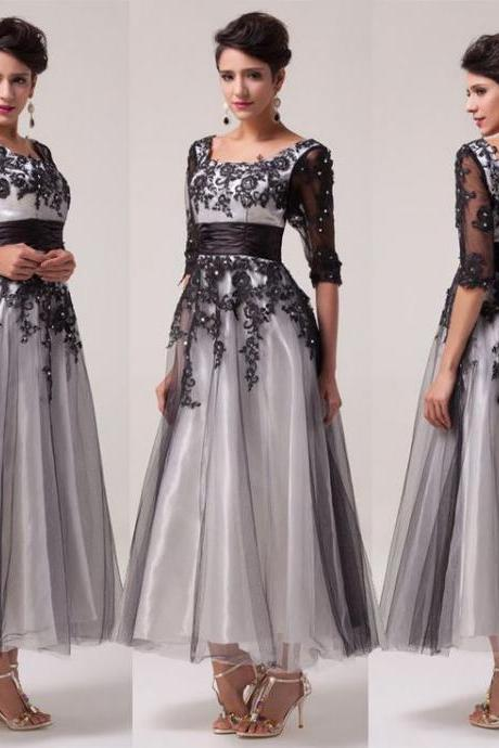 Ed406 Ankle-Length Prom Dress,Appliques Prom Dress,A-Line Prom Dress,Tulle Prom Dress,Half-Sleeve Prom Dress