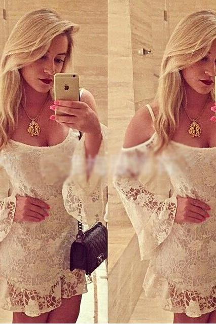 Sexy White Lace Collar Long-Sleeved Dress