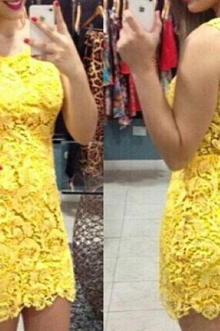 on sale LACE SEXY BACKLESS YELLOW MINI DRESS