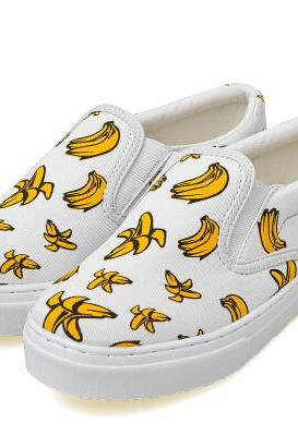 Banana Printed Platform Slip On Loafers