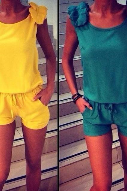 on sale DOUBLE COLOR TWO-PIECE DRESS ROMPER