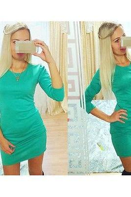 Women Sexy Bodycon Mid Sleeve A-Line Pencil Mini Dress Party Night Club Dresses