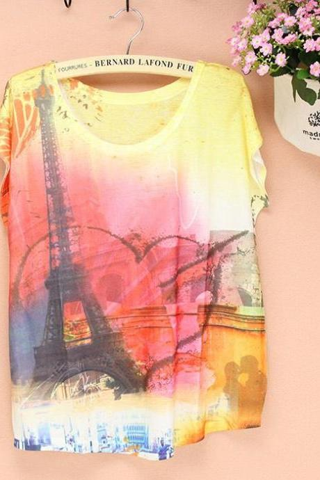 Eiffel towel short sleeves Summer Top Girl Tee