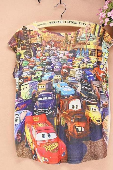 Cartoon cars short sleeves Summer Top Girl Tee