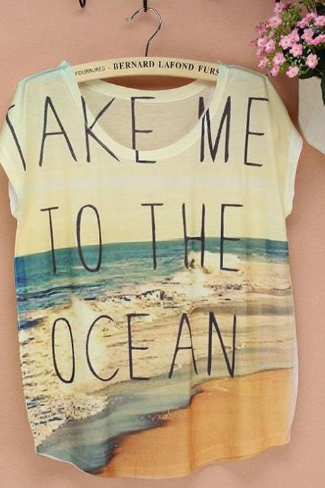 Take me to Ocean short sleeves Summer Top Girl Tee