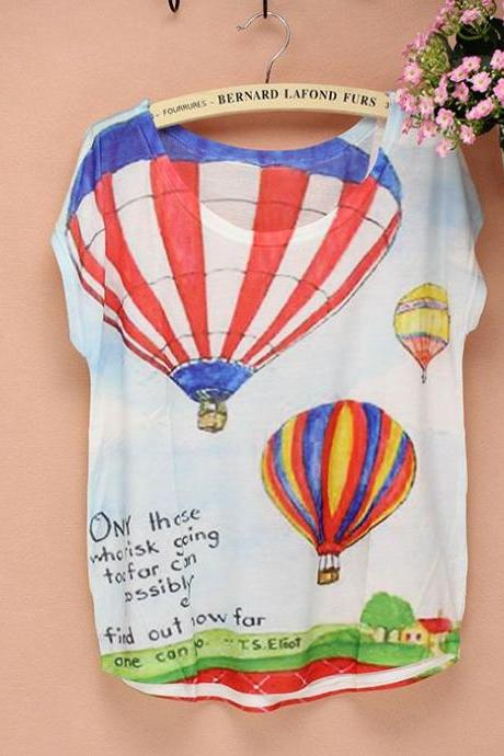 Hot Air Ballon short sleeves Summer Top Girl Tee