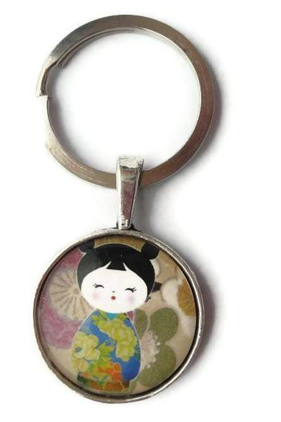 Glass Necklace Keychain Zipper Japanese Doll Yellow Flower Blue Kimono