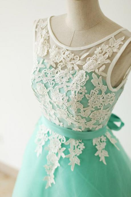 Pretty Handmade Turquoise Tulle Short Prom Dress with White Applique, Turquoise Prom Dresses, Homecoming Dresses 2016, Graduation Dresses