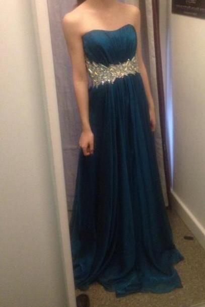 Ed400 Charming Prom Dress,Crystal Prom Dress,A-Line Prom Dress,Chiffon Prom Dress,Strapless Prom Dress