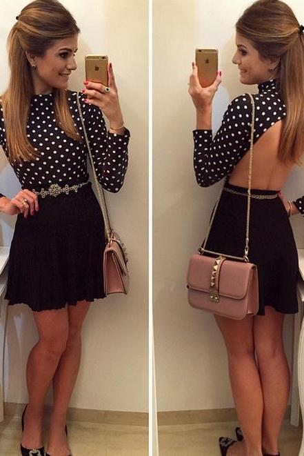 Black Casual Two-Piece Open Back Polka Dot Casual Dress