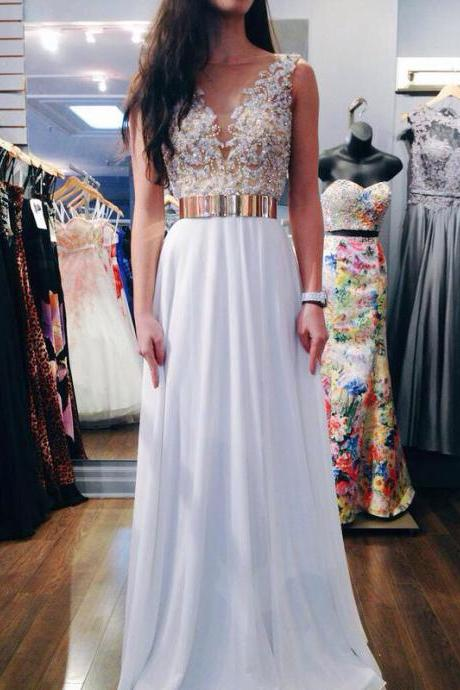 Gold Metal Belt Prom Dresses, Long Prom Dresses 2015,Sexy V See-through Party Dresses, Formal Dresses for Party, Dresses for Prom,Graduation Dresses,Pegeant Dresses,Evening Dress