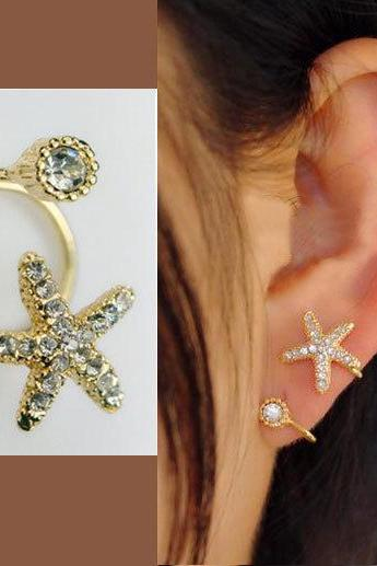 STARFISH AND ROUND RHINESTONE EAR CUFF (SINGLE, NO PIERCING) AEBGEI