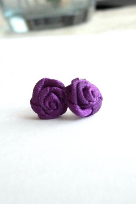 Violet earrings made of repurposed applique flowers, textile jewelry, purple rose earrings, recycled fabric studs