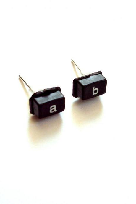 Black post geek earrings made of reused calculator buttons, upcycled recycled repurposed nerd jewelry minimalist studs
