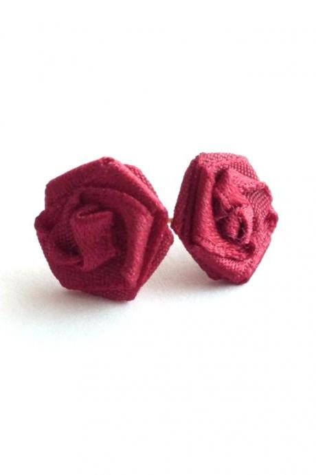 Red rose stud earrings recycled fabric textile jewellery repurposed cloth applique flowers scarlet ear studs upcycled jewelry