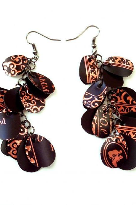 Very long black earrings made from recycled bottle, friendly plastic eco jewelry, ethnic upcycled earrings in tribal style
