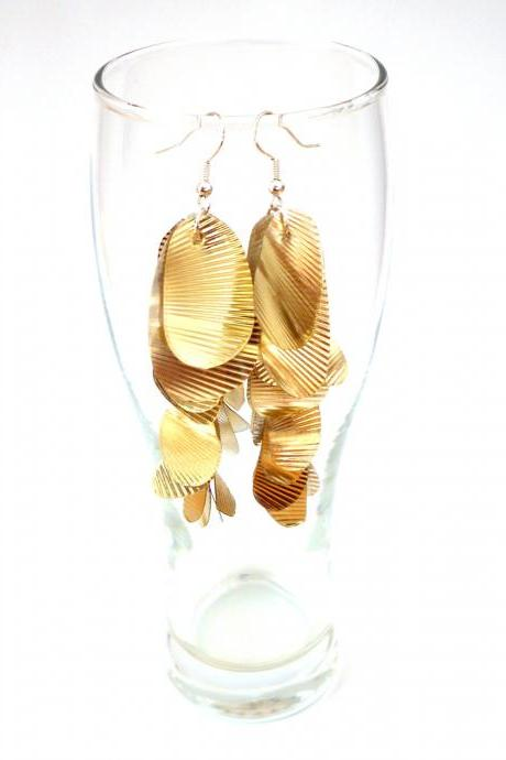 Long gold earrings upcycled jewellery very long earrings repurposed plastic box sustainable ecofriendly recycled jewelry