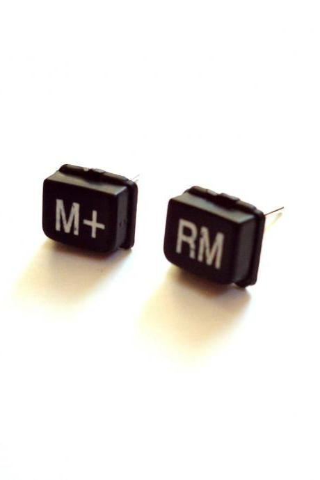 Science jewelry black ear studs made of repurposed calculator keys M+ RM upcycled jewelry geek earrings recycled techie nerd jewelry