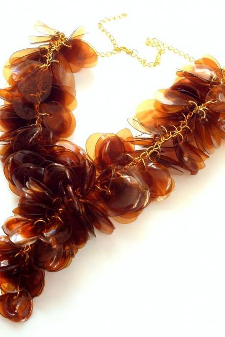Brown necklace made of plastic bottles statement necklace upcycled jewellery chunky necklace handmade artisan jewelry