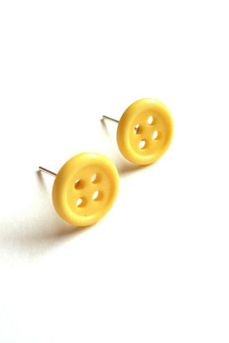 Yellow post earrings made of repurposed buttons - upcycled recycled jewelry, ecofriendly, minimalist, kitsch