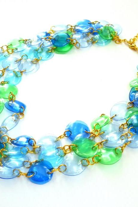Statement necklace handmade of recycled plastic bottles in blue & green, upcycled jewelry, colorful designer necklace, eco friendly