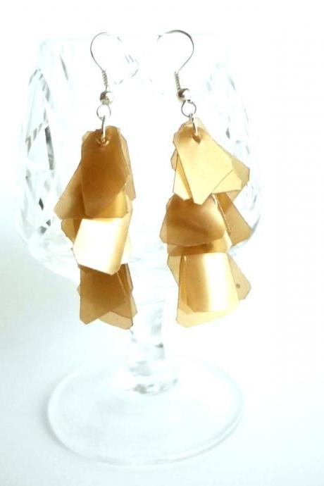 Golden brown earrings handmade of recycled plastic bottle, upcycled jewelry, ecofriendly, long repurposed earrings
