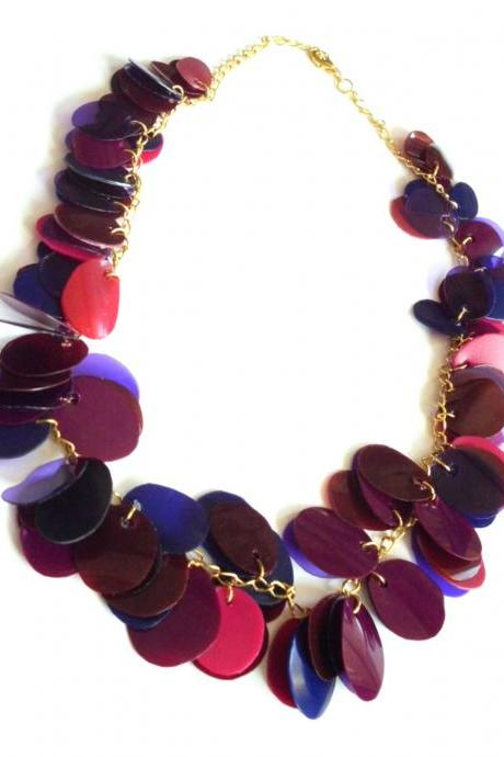 Statement necklace handmade of recycled plastic bottles in red, purple & blue, eco friendly upcycled jewelry