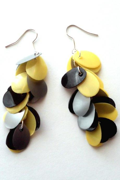 Upcycled Jewelry Handmade Long Earrings from Recycled Plastic Bottles Yellow Black & Grey