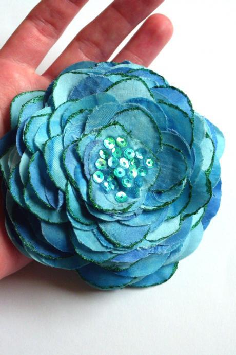 Blue hair clip handmade of recycled textiles, repurposed fabric large hair pin, upcycled jewelry