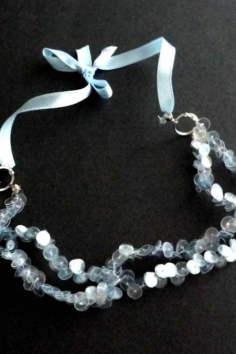 Soft blue statement necklace handmade of sequins cut from recycled plastic bottle, upcycled jewelry, sustainable, eco-friendly
