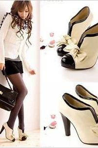 HOT WOMEN SEXY HIGH HEEL BEIGE TIE FASHION ANKLE SHOES US5-9
