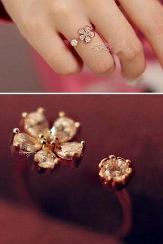 Zircon Flowers Open Ring AEBGHB