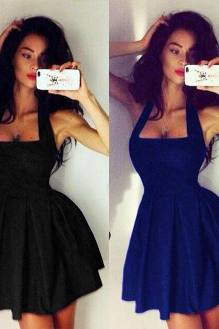 Fashion Women's Sexy Sleeveless Halter Neck Black Evening Party Dress