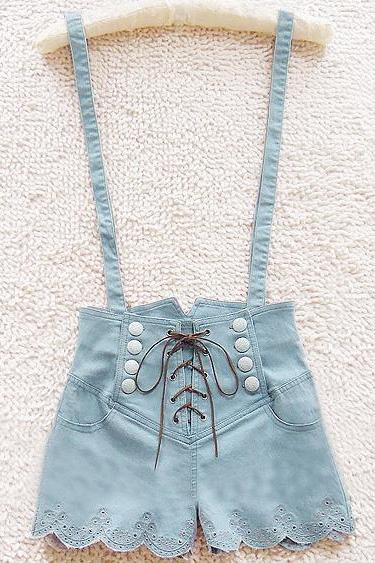 A 072402 Retro Double-Breasted High Waist Denim Overalls827