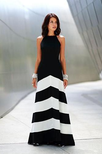 Women fashion sexy sleeveless stripe bodycon cocktail prom dress evening dresses