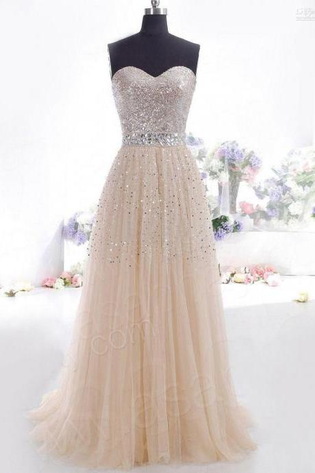Sexy Prom Dresses 2016 new arrival Long sweetheart a-line champagne Formal Dress Gown long elegant Vestidos