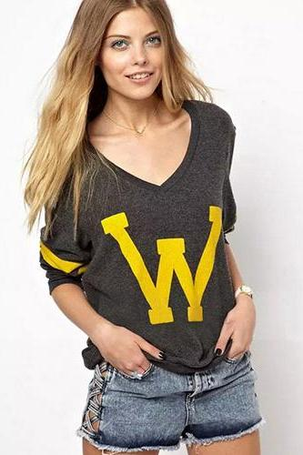 Women casual spring autumn v neck tops Street Style blouse print letter shirt