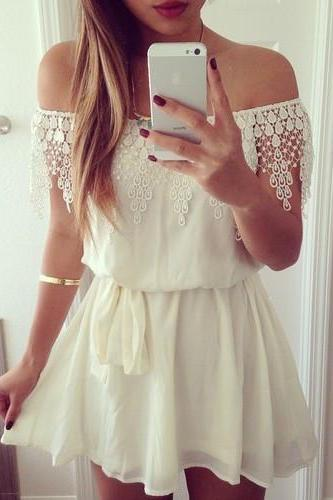 Chiffon Sexy White Lace Dress